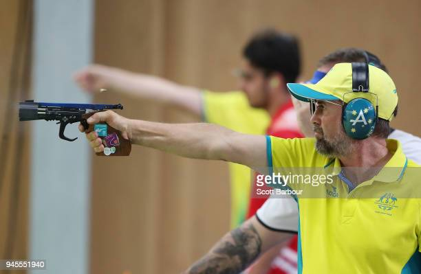 David Chapman of Australia competes during the 25m Rapid Fire Pistol Men's Finals during the Shooting on day nine of the Gold Coast 2018 Commonwealth...