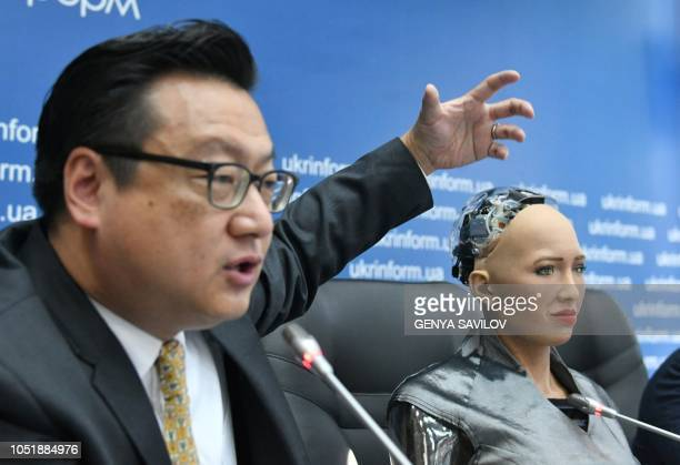 David Chen Director of Hanson Robotics and AngelVest founder present a humanoid robot named Sofia developed by Hong Kong company Hanson Robotics to...