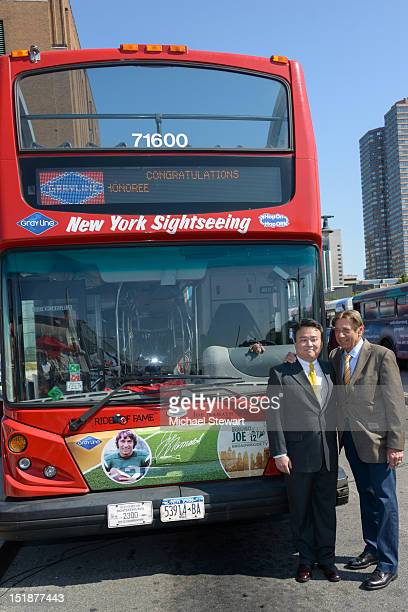David Chien and Joe Namath attend Gray Line New York's Ride of Fame campaign at Pier 78 on September 12 2012 in New York City