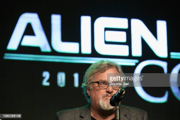 David Childress speaks onstage at Ancient Aliens Alien Engineering during day 3 of AlienCon Baltimore 2018 at Baltimore Convention Center on November...