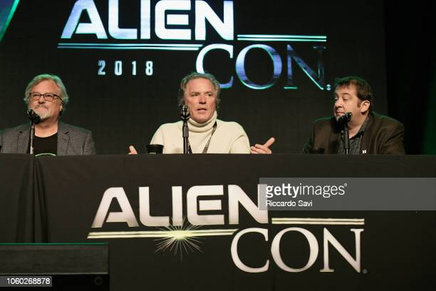 David Childress William Henry and David Silver speak onstage at Ancient Aliens Alien Engineering during day 3 of AlienCon Baltimore 2018 at Baltimore...