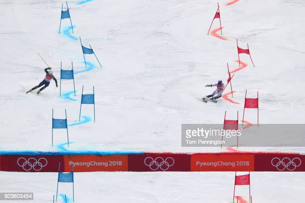 David Chodounsky of the United States and Laurie Taylor of Great Britain compete during the Alpine Team Event on day 15 of the PyeongChang 2018...
