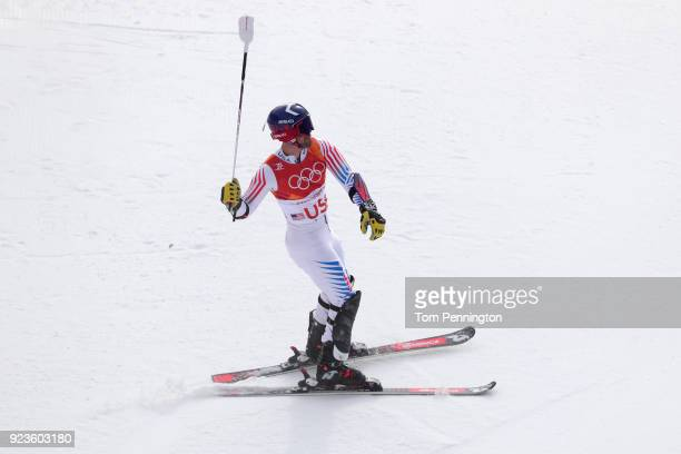 David Chodounsky of the United States reacts after his run during the Alpine Team Event on day 15 of the PyeongChang 2018 Winter Olympic Games at...