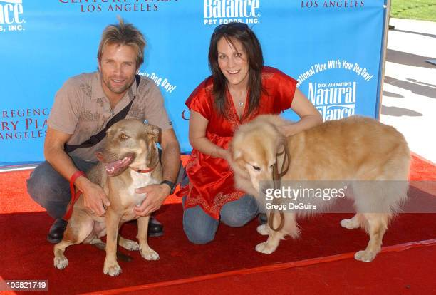David Chokachi and Annabeth Gish during KickOff Party for Dine With Your Dog Day at Hyatt Regency Century Plaza in Century City California United...