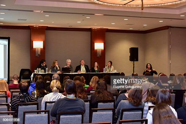 David Choo Andrea Day Lisa Carling Stewart F Lane Becca Yure and Lynnette Taylor attend BroadwayCon Making Theater Accessible With Panelists Stewart...