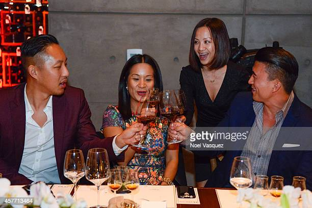 David Christopher Lee Hennessy West Coast Marketing Manager ThuyAnh J Nguyen Quyenzi Pham and Eddie Ha attend Maurice Hennessy private tasting and...
