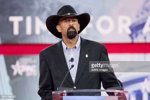 David Clarke former Sheriff of Milwaukee County Wisconsin at the Conservative Political Action Conference sponsored by the American Conservative...