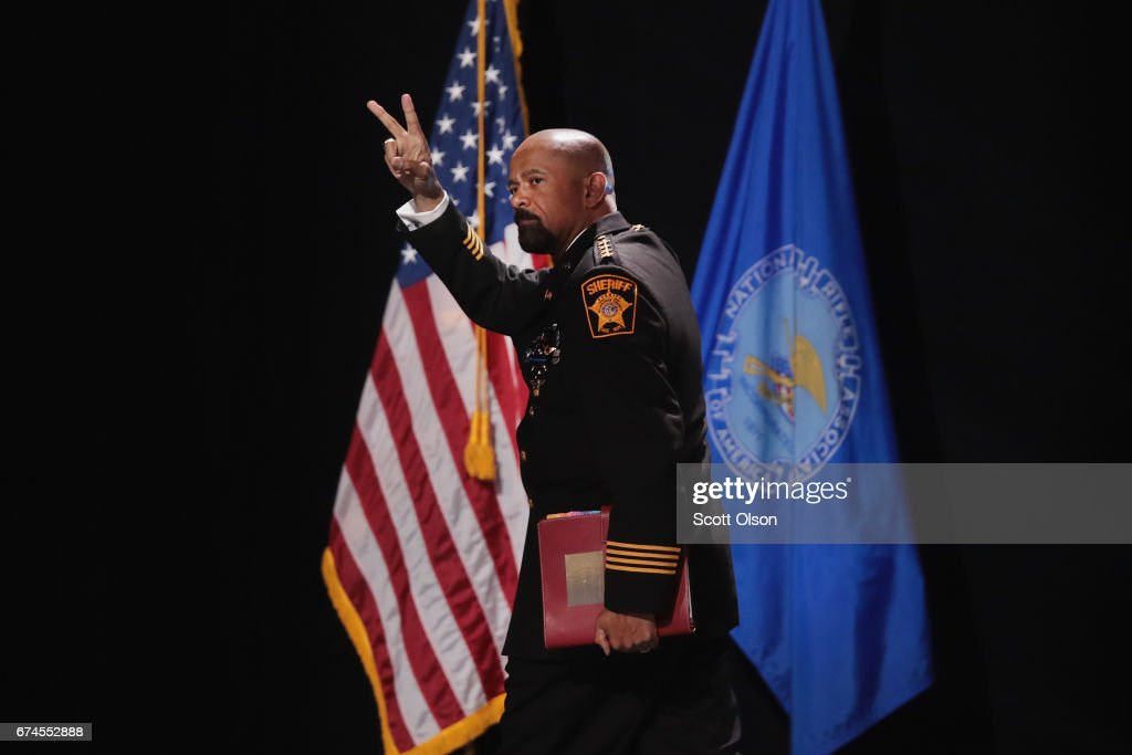 David Clarke Jr., sheriff of Milwaukee County, Wisconsin, leaves the stage after speaking at the NRA-ILA's Leadership Forum at the 146th NRA Annual Meetings & Exhibits on April 28, 2017 in Atlanta, Georgia. The convention is the largest annual gathering for the NRA's more than 5 million members.