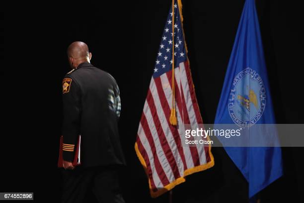 David Clarke Jr sheriff of Milwaukee County Wisconsin leaves the stage after speaking at the NRAILA's Leadership Forum at the 146th NRA Annual...