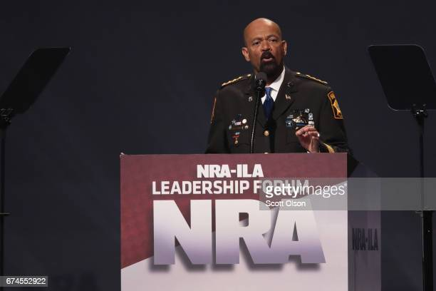 David Clarke Jr sheriff of Milwaukee County Wisconsin speaks at the NRAILA's Leadership Forum at the 146th NRA Annual Meetings Exhibits on April 28...