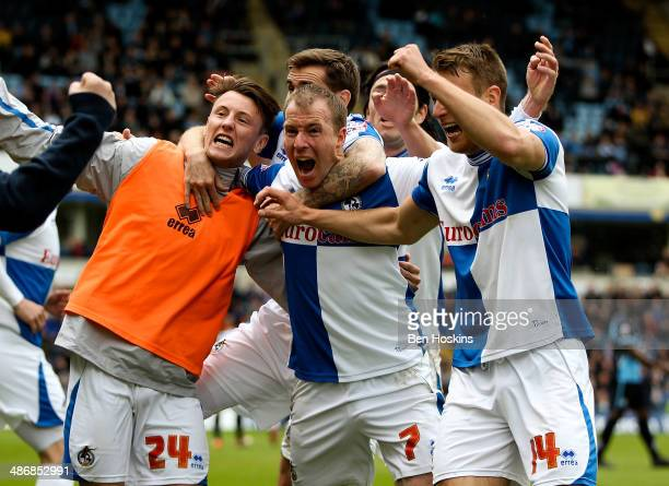 David Clarkson of Bristol celebrates with team mates after scoring his team's second goal of the game during the Sky Bet League Two match between...