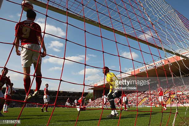 David Clarkson of Bristol City fails to head clear as Luke Chambers scores the winning goal during the npower Championship game between Bristol City...