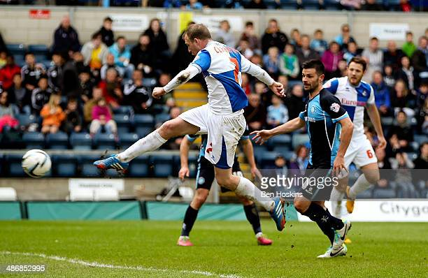 David Clarkson of Bristol scores his team's second goal of the game during the Sky Bet League Two match between Wycombe Wanderers and Bristol Rovers...