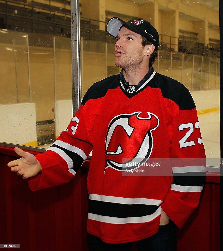 David Clarkson of the New Jersey Devils addresses the kids during the Hockey in Newark instructional clinic on February 13, 2013 in Newark, New Jersey.