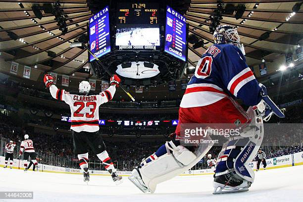 David Clarkson of the New Jersey Devils celebrates his winning third period goal past Henrik Lundqvist of the New York Rangers in Game Two of the...