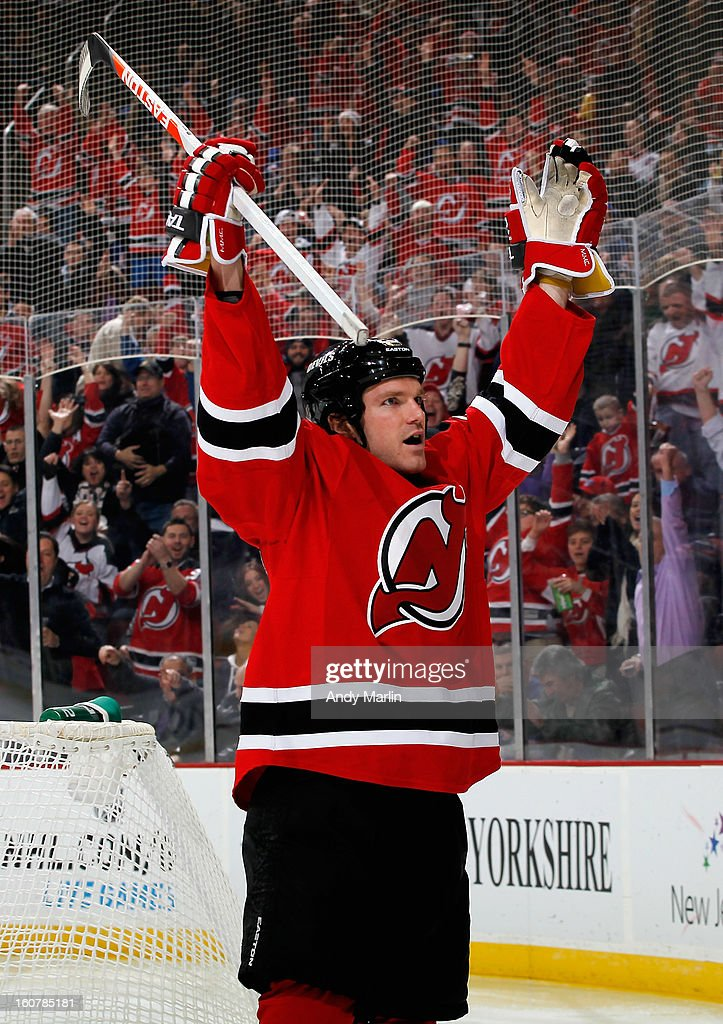 David Clarkson #23 of the New Jersey Devils reacts after scoring his second goal of the game against the New York Rangers during the game at the Prudential Center on February 5, 2013 in Newark, New Jersey.