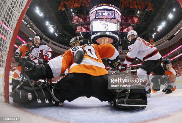 David Clarkson of the New Jersey Devils scores the game winning goal at 1117 of the third period against the Philadelphia Flyers in Game Two of the...