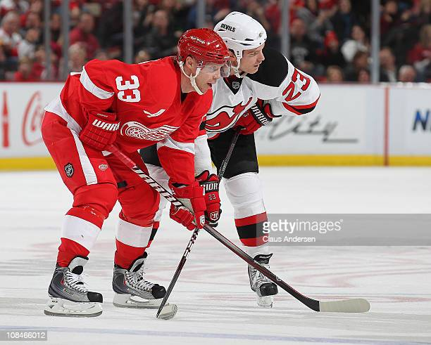 David Clarkson of the New Jersey Devils waits for a faceoff along side Kris Draper of the Detroit Red Wings in a game on January 26 2011 at the Joe...