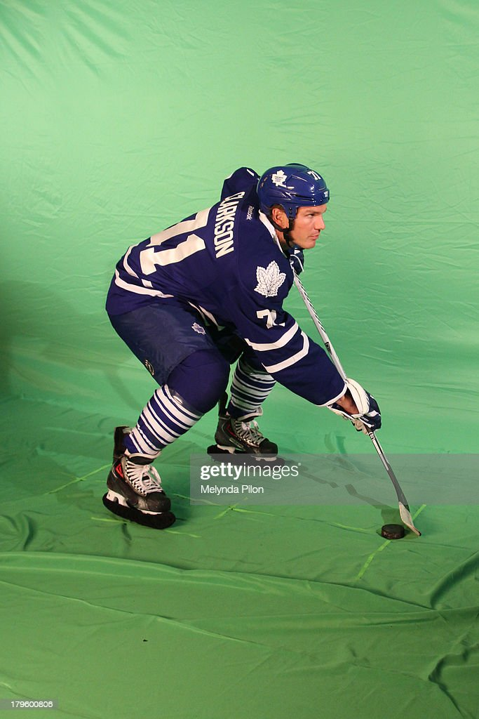David Clarkson of the Toronto Maple Leafs poses during a NHL Studios production shoot at the 2013 NHL Player Media Tour at the Prudential Center on September 5, 2013 in Newark, New Jersey.