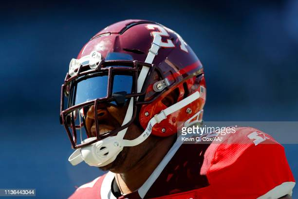 David Cobb of San Antonio Commanders warms up prior to the Alliance of American Football game against the Atlanta Legends at Georgia State Stadium on...