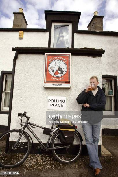David Codona from Urquhart has a pint at the Royal Oak pub in Urquhart which is being used as a polling station for the Moray byelection being held...