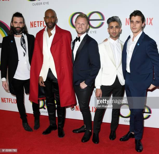 David Collins Jonathan Van Ness Karamo Brown Bobby Berk Tan France and Antoni Porowski attend the premiere of Netflix's 'Queer Eye' Season 1 at...