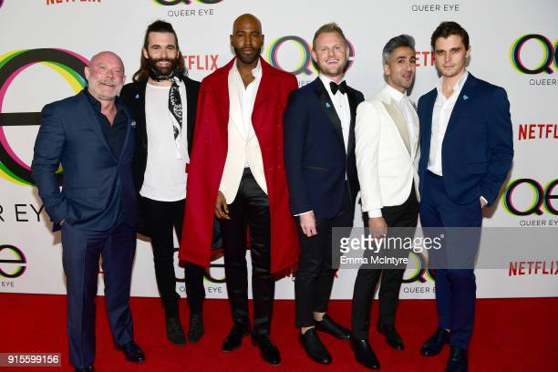 David Collins Jonathan Van Ness Karamo Brown Bobby Berk Tan France and Antoni Porowski attend the premiere of Netflix's 'Queer Eye' Season 1 at...
