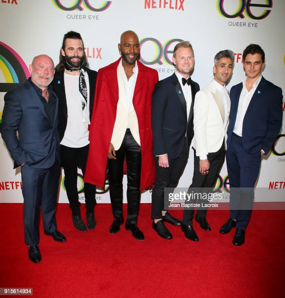David Collins, Jonathan Van Ness, Karamo Brown, Bobby Berk, Tan France, and Antoni Porowski attend the premiere of Netflix's 'Queer Eye' Season 1 at...