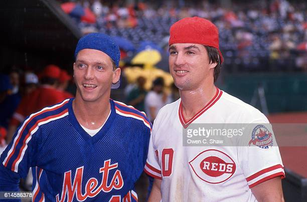 David Cone of the New York Mets and Danny Jackson of the Cincinnati Reds circa 1988 prior to the All Star game at Riverfront Stadium in Cincinnati...