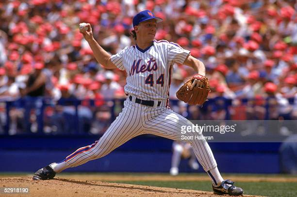 David Cone of the New York Mets delivers a pitch during a game in 1990 at Shea Stadium in Flushing New York