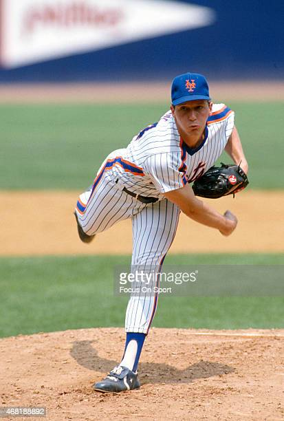 David Cone of the New York Mets pitches during an Major League Baseball game circa 1987 at Shea Stadium in the Queens borough of New York City Cone...