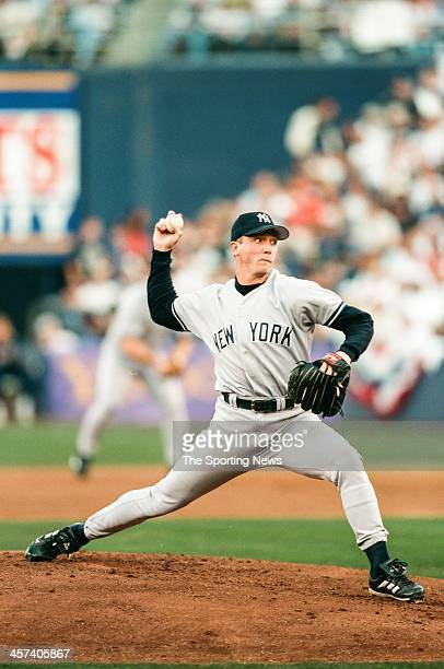 David Cone of the New York Yankees during Game Three of the World Series against the San Diego Padres on October 20 1998 at Qualcomm Stadium in San...