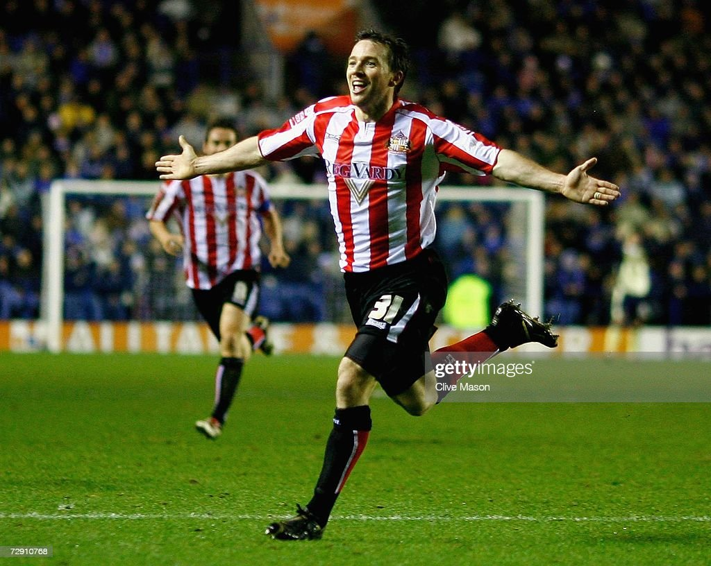 David Connolly of Sunderland celebrates a goal during the Coca Cola Championship match between Leicester City and Sunderland at the Walkers Stadium on January 1, 2007, in Leicester, England