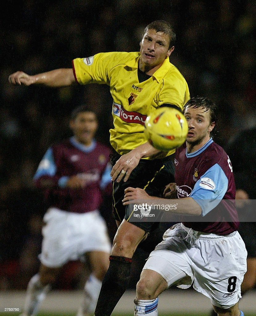 David Connolly of West Ham and of Watford in action during the Nationwide Division One match between Watford and West Ham United at Vicarage Road on November 22 in Watford, England.