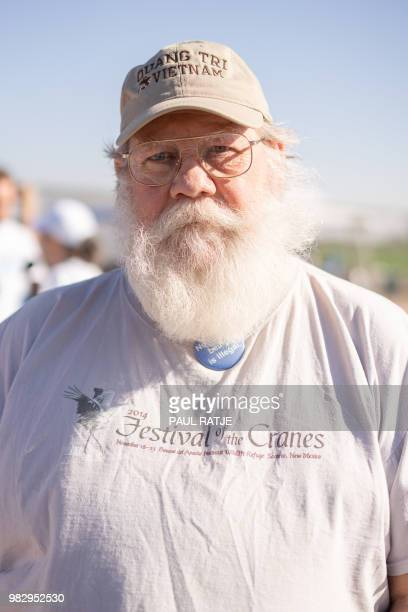 David Conrad from Portland Oregon poses for a photo during the 'End Family Detention' event held at the Tornillo Port of Entry in Tornillo Texas on...