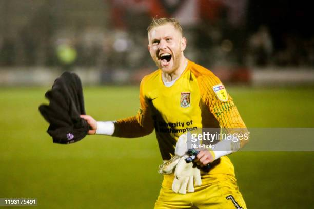David Cornell of Northampton Town FC celebrates following the final whistle during the Sky Bet League 2 match between Salford City and Northampton...