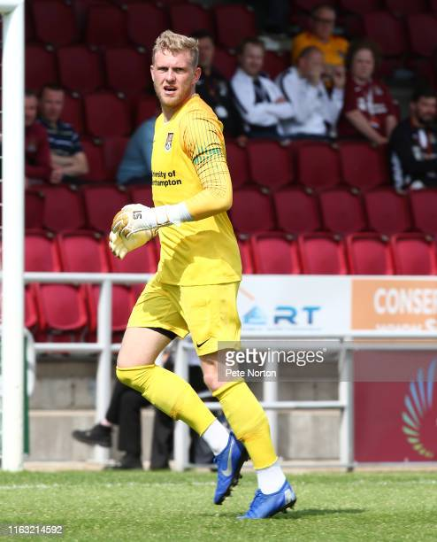 David Cornell of Northampton Town in action during a PreSeason Friendly match between Northampton Town and Sheffield United at PTS Academy Stadium on...