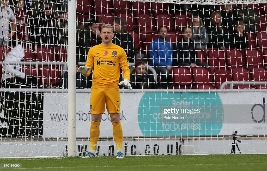 David Cornell of Northampton Town in action during The Emirates FA Cup First Round match between Northampton Town and Scunthorpe United at Sixfields on November 4, 2017 in Northampton, England.
