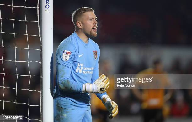 David Cornell of Northampton Town in action during the Sky Bet League Two match between Newport County and Northampton Town at Rodney Parade on March...