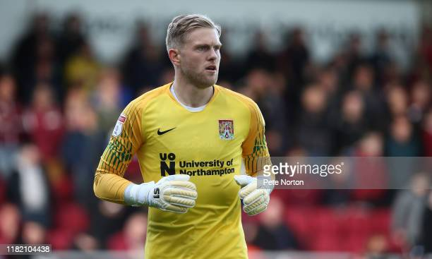 David Cornell of Northampton Town in action during the Sky Bet League Two match between Northampton Town and Salford City at PTS Academy Stadium on...