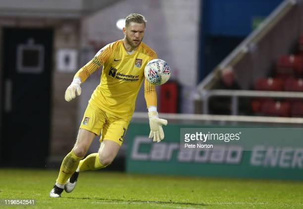 David Cornell of Northampton Town in action during the Sky Bet League Two match between Northampton Town and Cheltenham Town at PTS Academy Stadium...