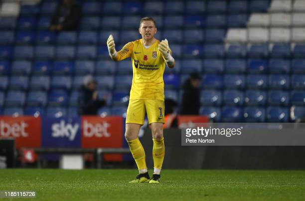 David Cornell of Northampton Town looks on dejected after conceding Oldham Athleic's second goal during the Sky Bet League Two match between Oldham...
