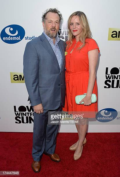 David Costabile and Eliza Baldi attend the AMC's New Series 'Low Winter Sun' Los Angeles premiere held at ArcLight Hollywood on July 25 2013 in...
