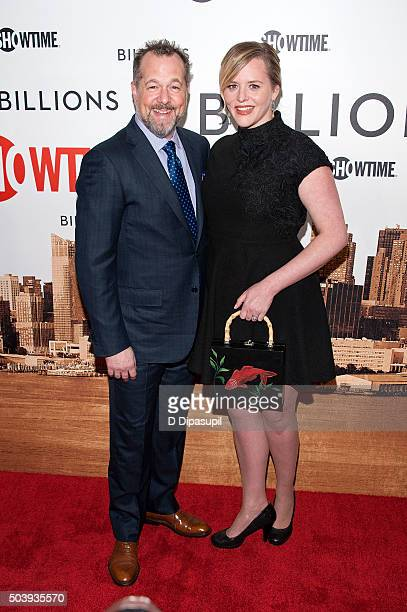 David Costabile and Eliza Baldi attend the Billions series premiere at the Museum of Modern Art on January 7 2016 in New York City