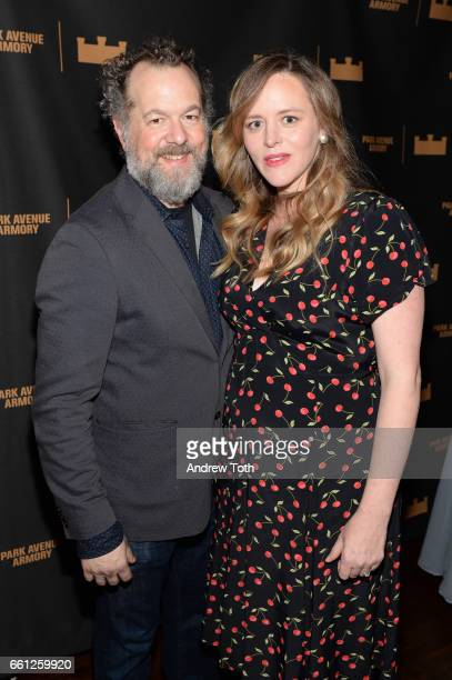 David Costabile and Eliza Baldi attend The Hairy Ape's opening night party at the Park Avenue Armory on March 30 2017 in New York City