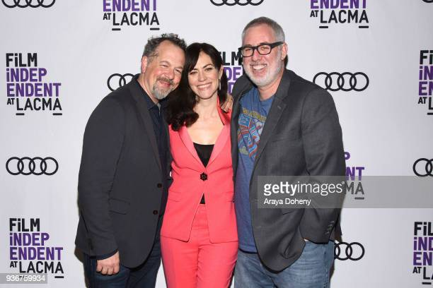 """David Costabile, Maggie Siff and Brian Koppelman attend Film Independent at LACMA hosts special screening of """"Billions"""" at Bing Theater At LACMA on..."""