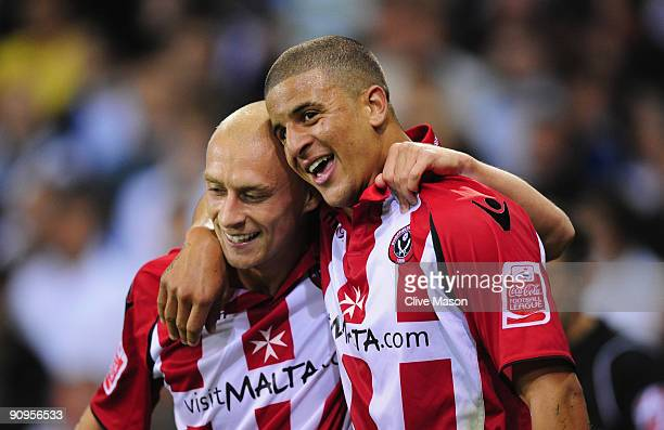 David Cotterill and Kyle Walker of Sheffield United celebrate during the Coca-Cola Championship match between Sheffield United and Sheffield...