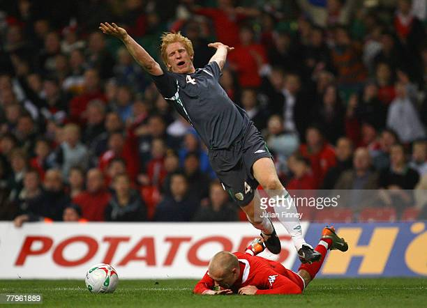 David Cotterill of Wales is brought down for a penalty by Paul McShane of Ireland during the Euro2008 Qualifier match between Wales and Republic of...