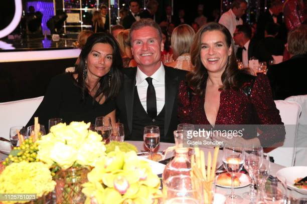 David Coulthard and his wife Karen Minier and Katarina Kati Witt during the Laureus World Sports Awards 2019 at Monte Carlo Sporting Club on February...