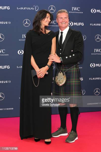David Coulthard and his wife Karen Minier during the Laureus World Sports Awards 2019 at Sporting Club on February 18 2019 in Monaco Monaco
